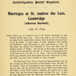 Cambridge St Andrew the Less Marriages Page 1