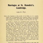 Cambridge St Benedict Marriages Page 1