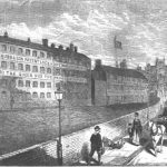 Etching of the Chubb Lockmaker's building in Woverhampton 1870