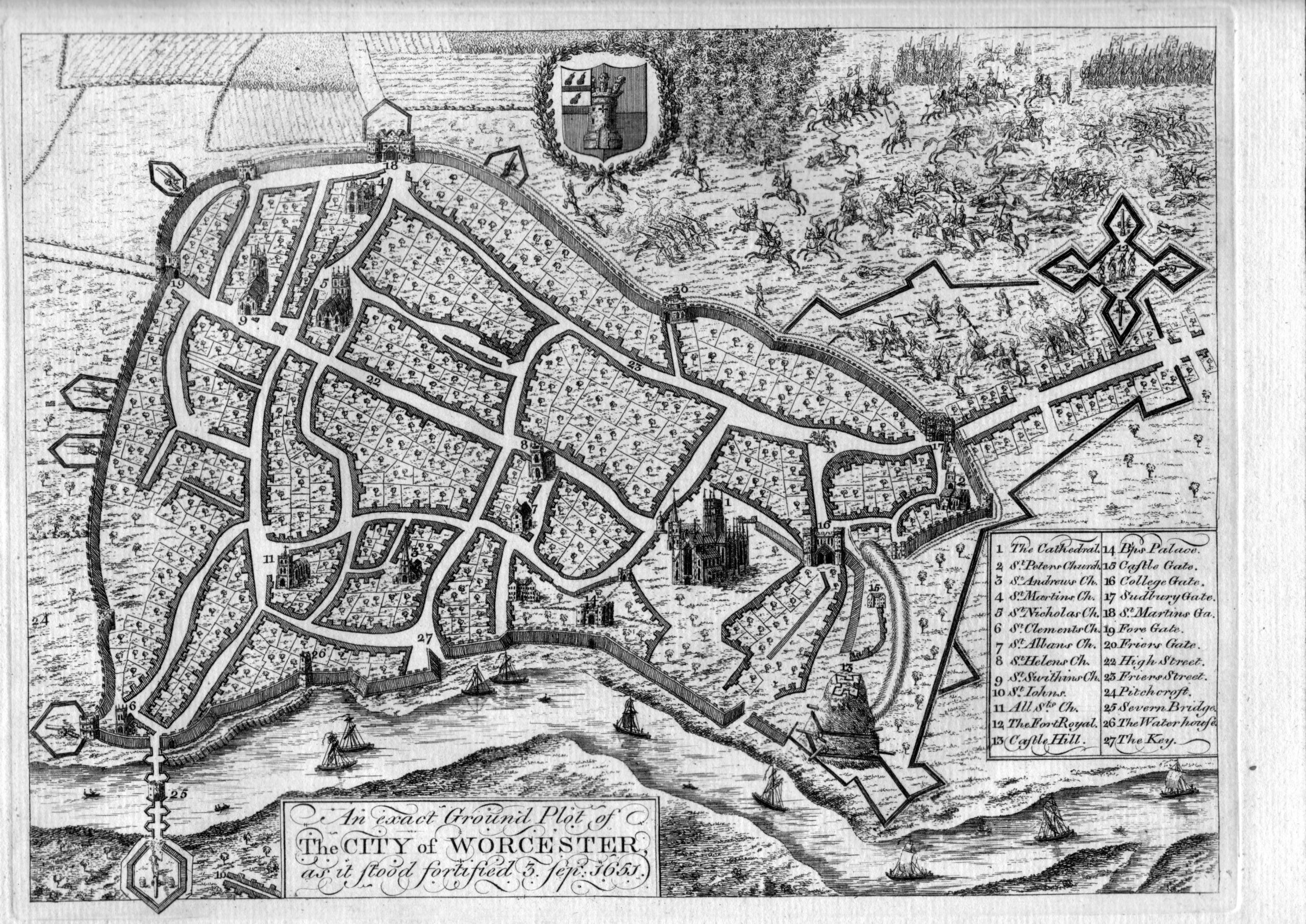 Map of Worcester City dated 1651