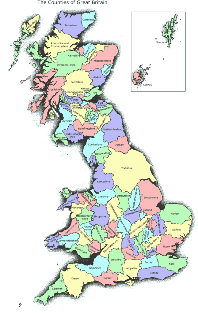 Counties of England Scotland and Wales